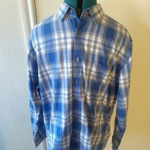 UNTUCKit Mens Plaid Gray Blue Long Sleeve Shirt
